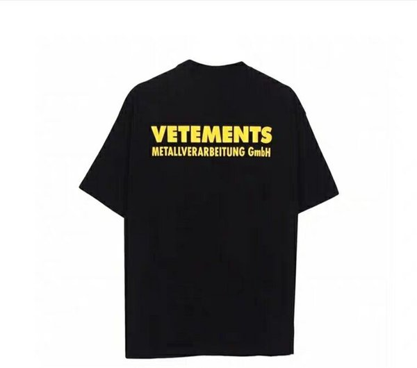 18SS Vetements yellow Logo Printed Tee Vintage Solid Color Short Sleeves Men Women Summer Casual Hip Hop Street Skateboard T-shirt