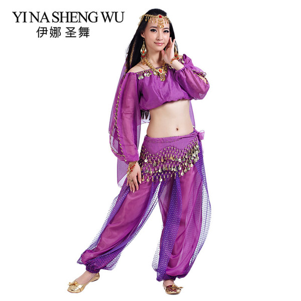 New Belly Dance Costumes Adults Belly Dance India Bollywood Performance 2/3/5 Pcs Set Top+Pants+Headdress+Veil+Waist chain