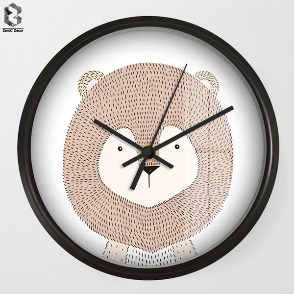 Chic Art Wall Clock Cartoon Lion For Kids Room Wall Decor, Nursery Decorative Mute Quartz Clocks Saat Home Decoration