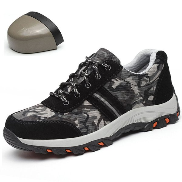 Best selling 2019 safety shoes men's camouflage canvas anti-mite perforated lightweight steel toe cap wear site work shoes36-46