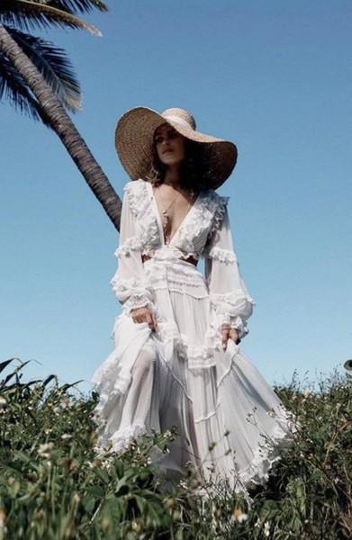 Zarif Beyaz Dantel Patchwork Pileli Uzun Kollu 2019 Kadın Elbiseler Yaz Bohemian Ruffles Şifon Maxi Elbise Tasarımcısı Pist Elbise