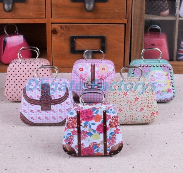 300pcs Mini Handbag Tin Box Home Cable Organizer Storage Box Zakka Wedding Gift Candy Jewelry Container Tea Boxs