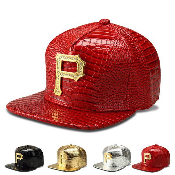 Rapper Hip Hop Cap Letra P Boné de Beisebol Partido Club Hat Chapéu de Couro Sólido Snapback Cap Osso Casquette