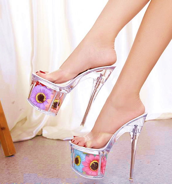 best selling Plus Size 34 To 41 42 43 Sexy Ladies High Platform Flower Clear Jelly Backless Ultra High Heels Come With Box