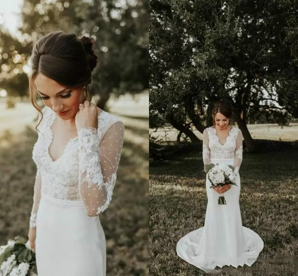 Beautiful Lace Mermaid Wedding Dresses Sexy V Neck Satin Long Train Beading Sleeve Low Back Fall Country Bohemian Bridal Gowns Illusion Top