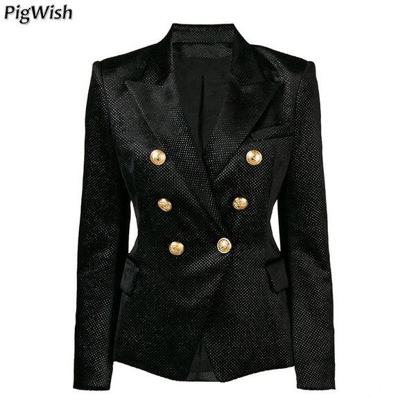 Glitter paillettes formelles vestes 2018 Designer Blazer femmes boutons en métal de Lion d'argent Shimmer Velvet Blazer manteau d'affaires