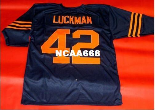 best selling Men #42 SID LUCKMAN CUSTOM 3 4 SLEEVE RETRO College Jersey size s-4XL or custom any name or number jersey