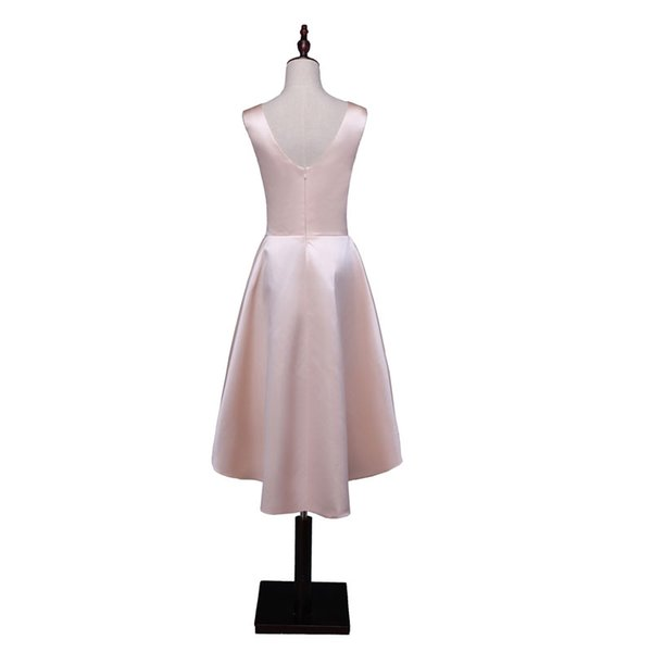 New cocktail short dress scoop neck V-opening back dress vestido de noiva satin simple dress