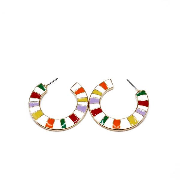 Free Shipping Rainbow Enamel Colors Party Sweet Elegant Alloy C Shaped Pretty Stud Earrings For Women