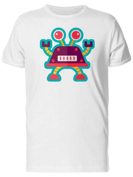 Mavi Anahat Erkek Tee ile Karikatür Robot-Kısa Kollu Tee Gömlek Tarafından Görüntü