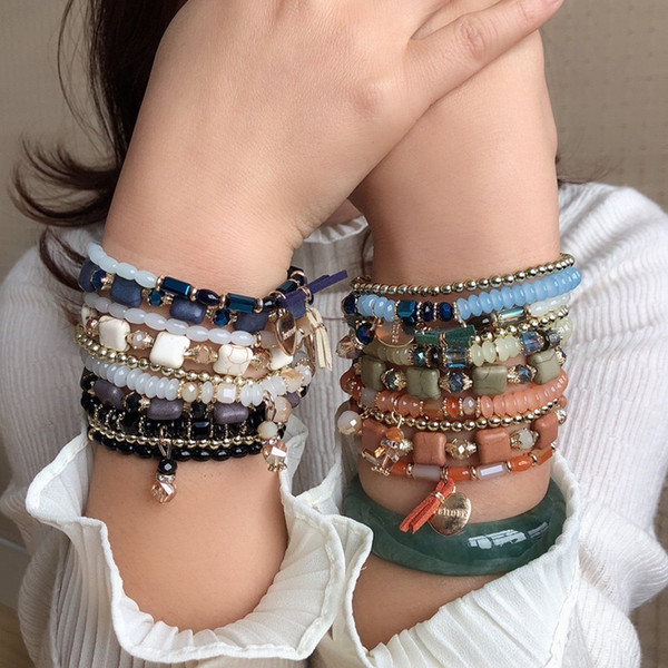 Luxury Designer Vintage Beaded Bracelet Natural Stone 4pcs Stackable Bracelets for Women Girls Heart Shape Pendant Strands Bracelets