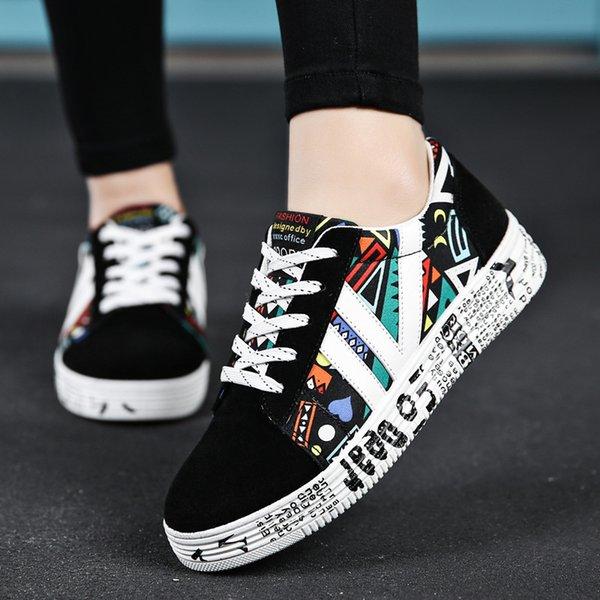 740e6530c7 Mujer de verano zapatillas de deporte blancas zapatos casuales amantes de  la impresión de moda plana
