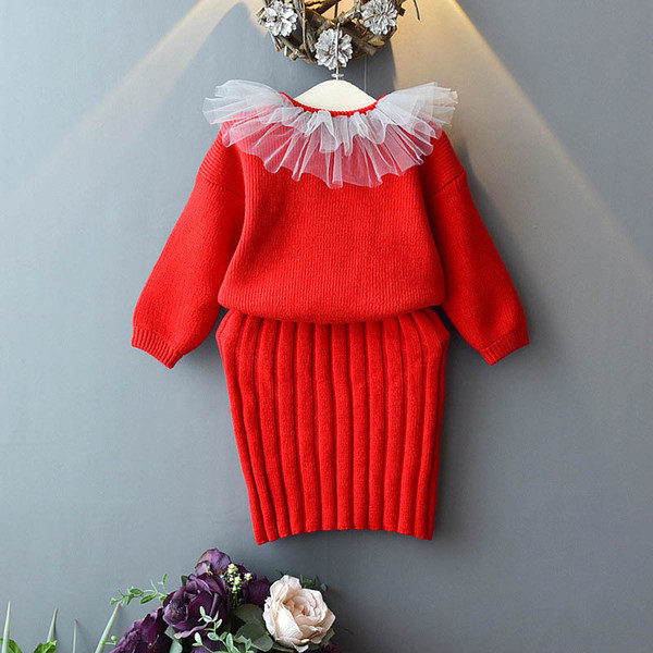 New 2019 autumn winter sweater girls suits fashion kids outfits lace sweater+skirt kids designer clothes girls clothes kids sets A7408