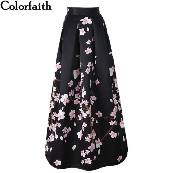 New Satin Women 100cm High Waist Flared Maxi Skirts Peach Blossom Printed Pleated Floor Length Long Skirts Saias