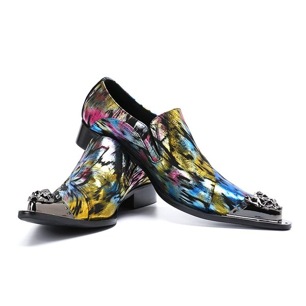 Fashion Men Shoes Color Formal Leather Dress Shoes Men Iron Toe Chaussure Homme Cool Party & Wedding Shoes for Men