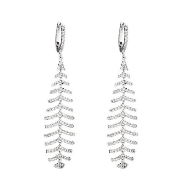 Korean Fashion Fish Bone Dangle Earrings Women CZ Stone Wedding Jewelry Full Diamond Earings Rings Designer Ear Studs