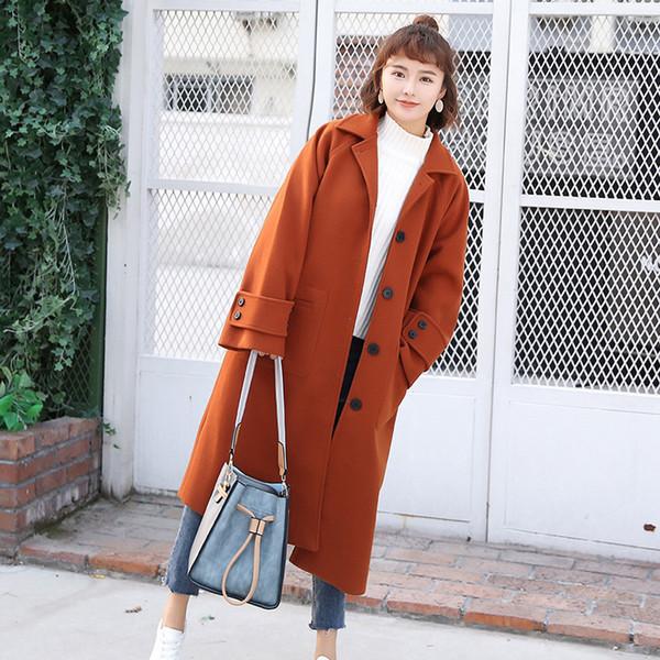 Nouveaux manteaux long femmes coréennes 2018 hiver solide manteau en mélange de laine mélangée et veste col rabattu manteaux pour dames