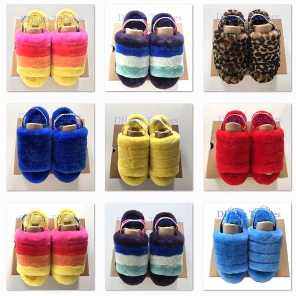 Mulheres fluff sim deslize moda de luxo mulheres designer de sandálias fluff sim plain amarelo pantoufle furry chinelos slipper slips flip flops