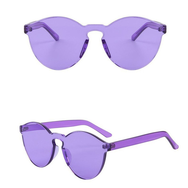 Round Shape Sunglasses Women Rimless Frame Tint Clear Lens Colorful Sun Glasses Outdoor Eyewear 8 colors 9803