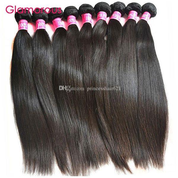 Glamorous Malezya Saç Uzantıları Toptan 100% Orijinal İnsan Saç 10 Adet Siyah Kadınlar için Perulu Hint Brezilyalı Düz Saç Örgü