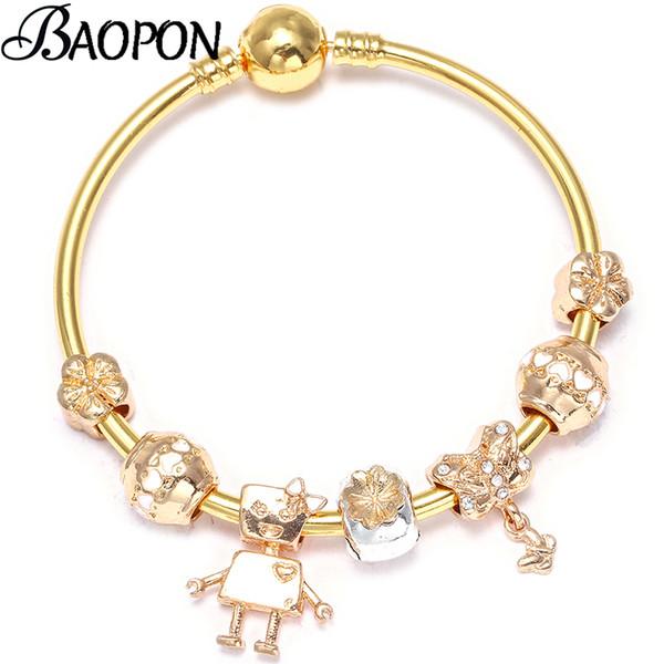 Dropshipping Silver Enamel Butterfly Charm Bracelet Heart Of Cute Robot Fine Bracelets & Bangle Fashion Jewelry Gift Pulseras