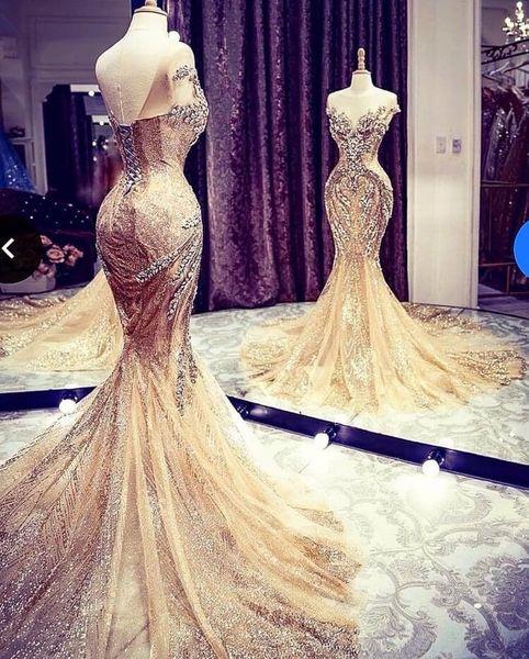 Lindo Querida Sereia Cauda Longa Vestidos de Casamento Lace-up Backless Lantejoulas Frisado Ruffle Nupcial Vestidos de Casamento Custom Made Navio Livre