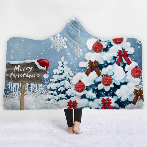 Flocos de neve voando cobertor com chapéu manter quente inverno frio macio confortável Feliz Natal Blanket twin full size