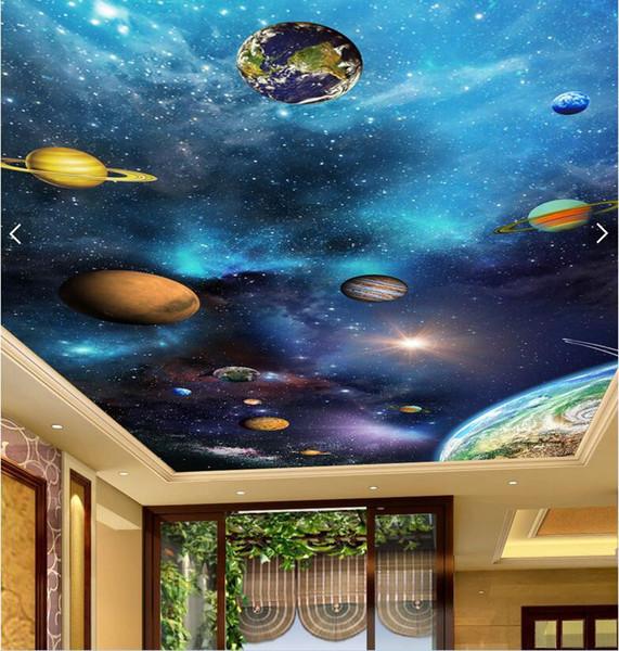 3d papier peint photo personnalisée sur le mur ciel étoilé planète plafond peinture murale salon décor à la maison 3d peintures murales papier peint pour les murs 3 d
