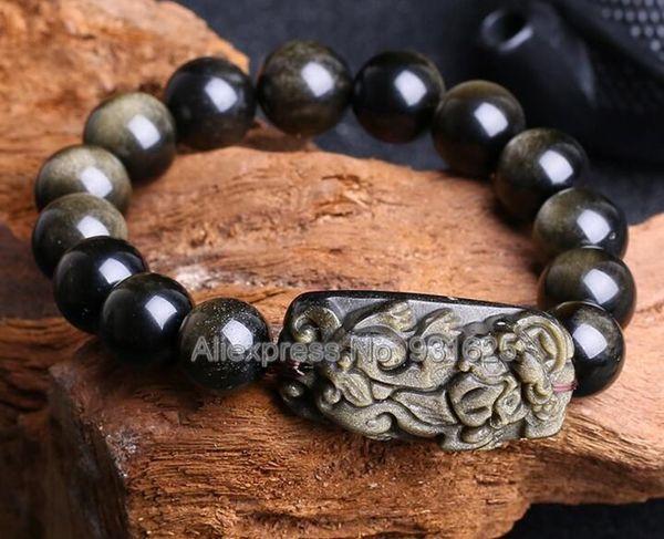 Beautiful Natural Gold Obsidian 8mm - 18mm Beads + Obsidian Carved PiXiu Stretch Elastic Bracelet Fashion Jewelry