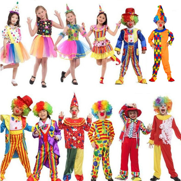 Holiday Funny Clown Costume Children Boy Girl Joker Costume Cospaly Party Dress Up Clown Suit Halloween Kids Christmas
