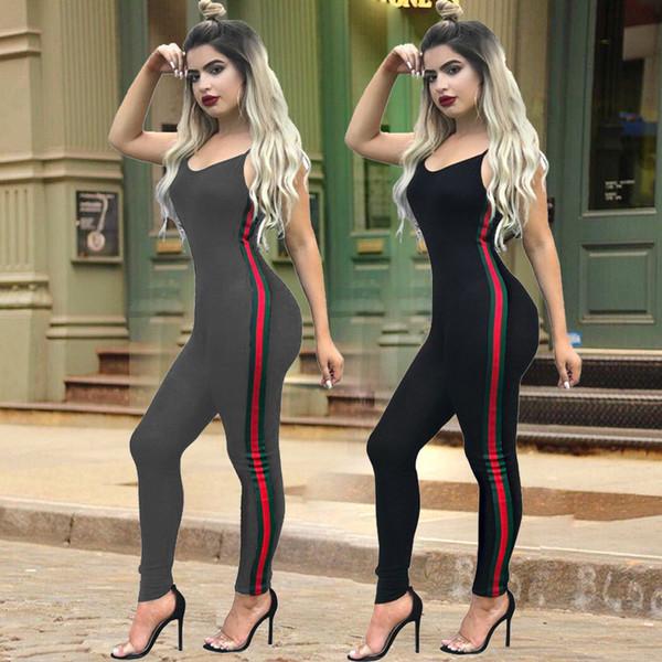 2019 nuevo traje ajustado de moda para mujer con estampado a rayas costura traje para mujer traje deportivo