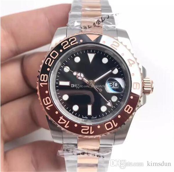 19 Reloj de Lujo Anillo de Cerámica de Alta Calidad 116613LN Estilo Automático Mecánico Sapphire Mirror Black Dial 18K Gold Inlay Relojes de Calidad