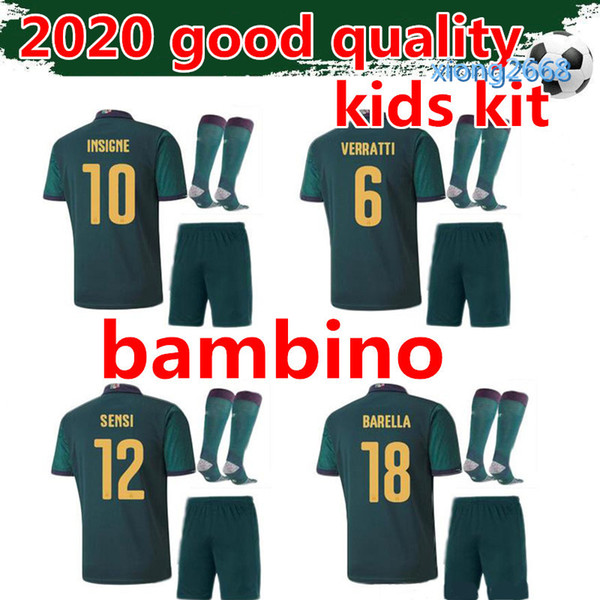 good quality kids soccer jersey kit 2019 2020 football kits INSIGNE IMMOBILE VERRATTI BONUCCI bambino football shirt maillot de foot