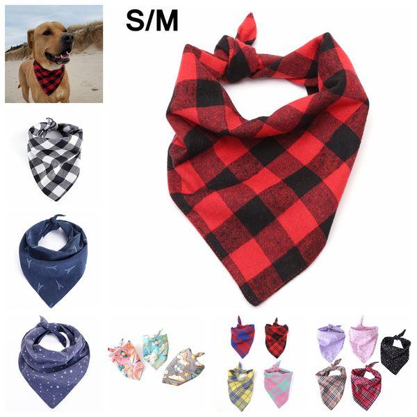 Dog Plaid Scarf Bandanas S/M Unicorn Pet Dog Cat Neck Scarf Tie Bowtie Necktie Bandana Collar Neckerchief Fashion Dog Apparel AAA1531