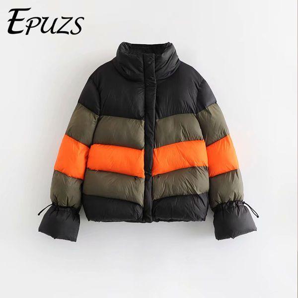 Fashion Color block winter jacket women padded jacket parkas Korean womens winter coat Stretwear 2019 spring chaqueta mujer