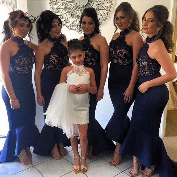 Elegant Navy Blue Long Mermaid Bridesmaid Dresses 2016 High Collar Ruffles Skirt Hi Lo Wedding Party Dress Customized