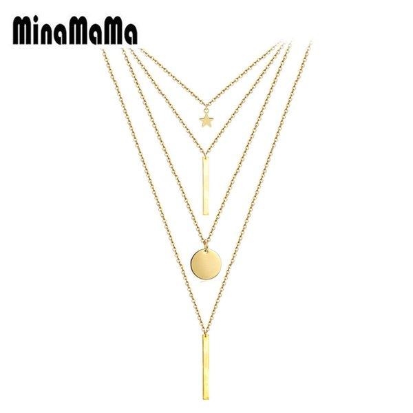 stainless steel multi layer star bar coin pendants necklace for women four layer sequins pendant choker necklaces