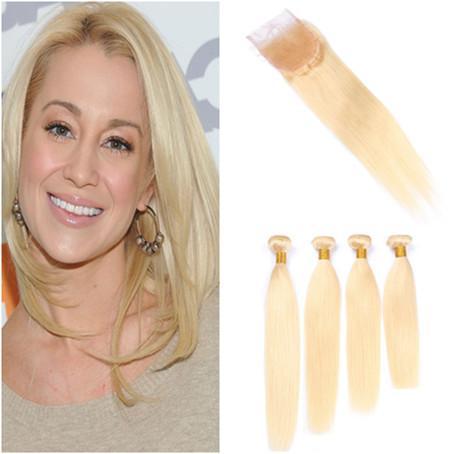 #613 Blonde Virgin Human Hair 4Pcs Weave Bundles with Closure Straight Bleach Blonde Brazilian Hair Wefts with 4x4 Lace Closure 5Pcs Lot