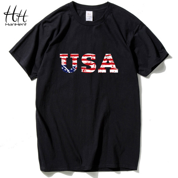 HanHent USA amerikanische Flagge Männer Markendesign T-Shirt Jersey New Fashion T-Shirt Hip Hop Fitness Kurzarm Herrenbekleidung