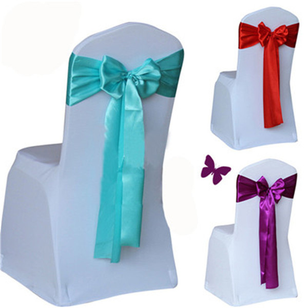 Cheap 20 Color Wedding Chair Cover Sash Satin Fabric Bow Tie Ribbon Band Decoration Hotel Party Supplies ST500