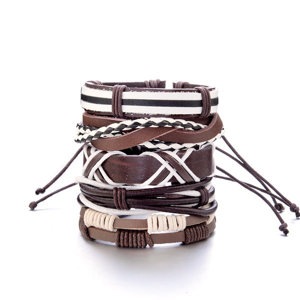 Japanese and Korean popular bracelets Retro punk stars round rivets men's bracelets Combined multi-layer fashion bracelets