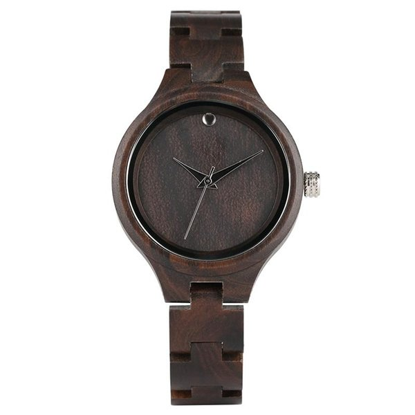 Super Lightweight Ebony Wooden Watch for Women, Casual All Black Wood Wrist Watches for Ladies, Natural Wooden Watches with Quartz Movement