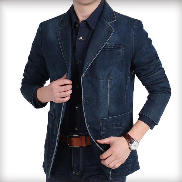 Brand Denim Jacket Men Autumn Blazer Jacket Slim Fit Single Breasted Turn-down Collar Jeans Coat Plus Size XXXXL