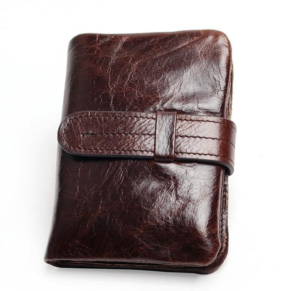 Vintage Rahat 100% Gerçek Hakiki Inek Derisi Yağı Balmumu Deri Erkekler Kısa Bifold Cüzdan Cüzdan Çanta Para Cebi Erkek Fermuar