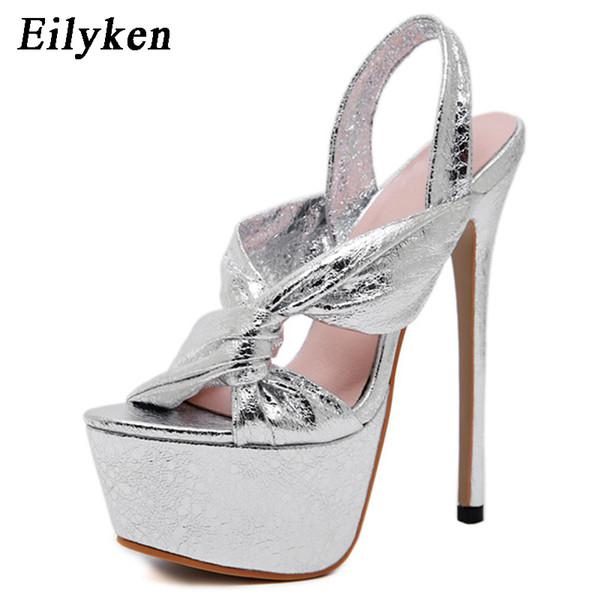 Eilyken 17cm Ultra High Heel Shoes Sexy Silver Stripper Shoes Party Pumps Summer Platform High Heel Sandals Ladies