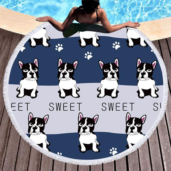 Cute Dog Round Beach Towel For Kids Adults Cartoon Printed Tassel Yoga Mat Large Towel Microfiber Toalla Blanket