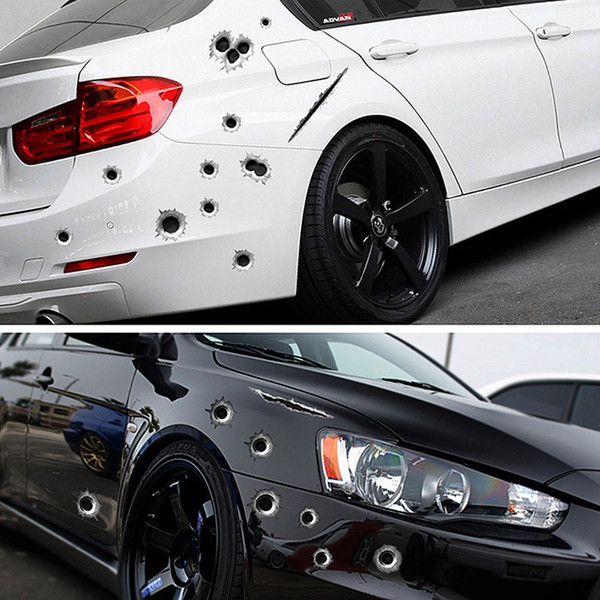 top popular 3D Bullet Hole Car Stickers Funny Decal Scratch Realistic Bullet Hole Waterproof Stickers Car Exterior Styling Decoration HHA116 2021