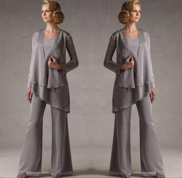 Mother Of The Grey Chiffon Bridal Mother Bride Pant Suits With Jacket Women Evening Pant Suits Long Sleeve Evening Dresses SH325