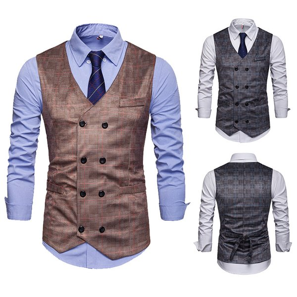 Fit Mens Suit Vest European Style Men's Plaid Nightclub Sleevess Blazer