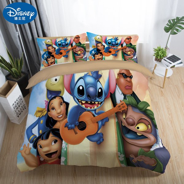 2019 New Cute Stitch Bedding Set Home textile Cartoon Single Twin Full Queen King Size Bedclothes Children's Boy Girl Bedroom